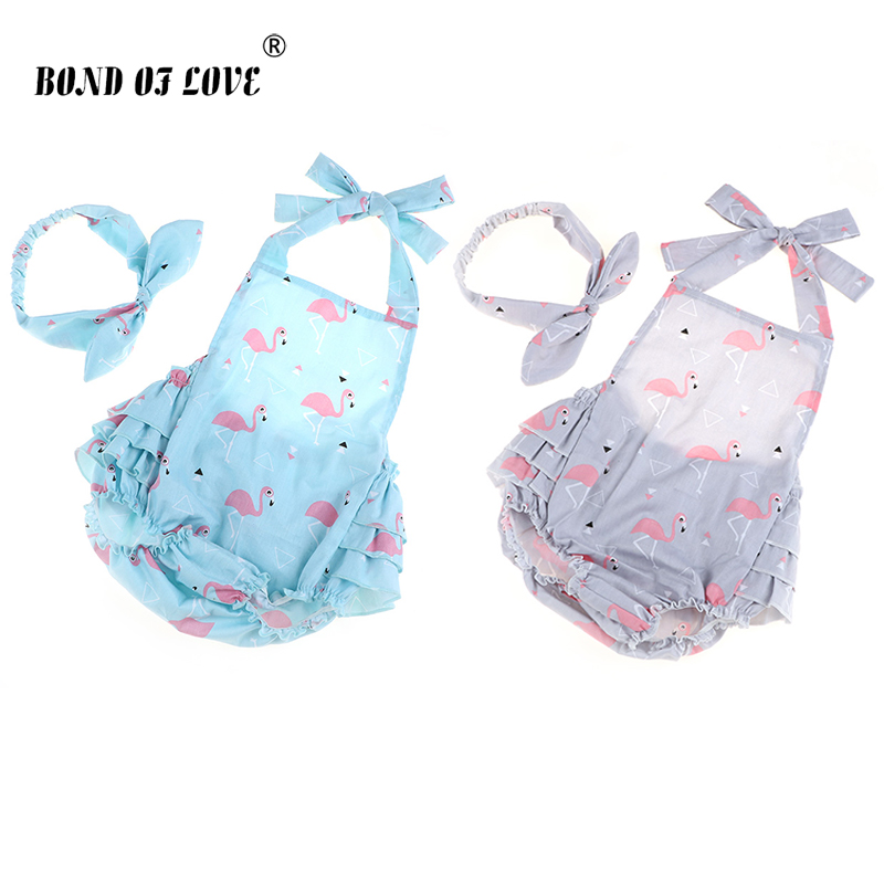 Rompers Newborn Baby Clothing Romper Headband Infant Cotton Jumpsuit Sleeveless Jumpsuit Newborn Baby Girls Clothes 2 Color in Rompers from Mother Kids