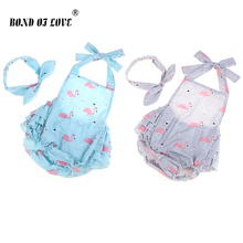 Rompers Newborn Baby Clothing Romper+Headband Infant Cotton Jumpsuit Sleeveless Girls Clothes 2 Color