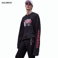 Aolamegs à manches longues t shirt hommes femmes old school hip hop style Tee Jeunes Mode Rap Streetwear Aujourd'hui est bonne journée Imprimer T shirt