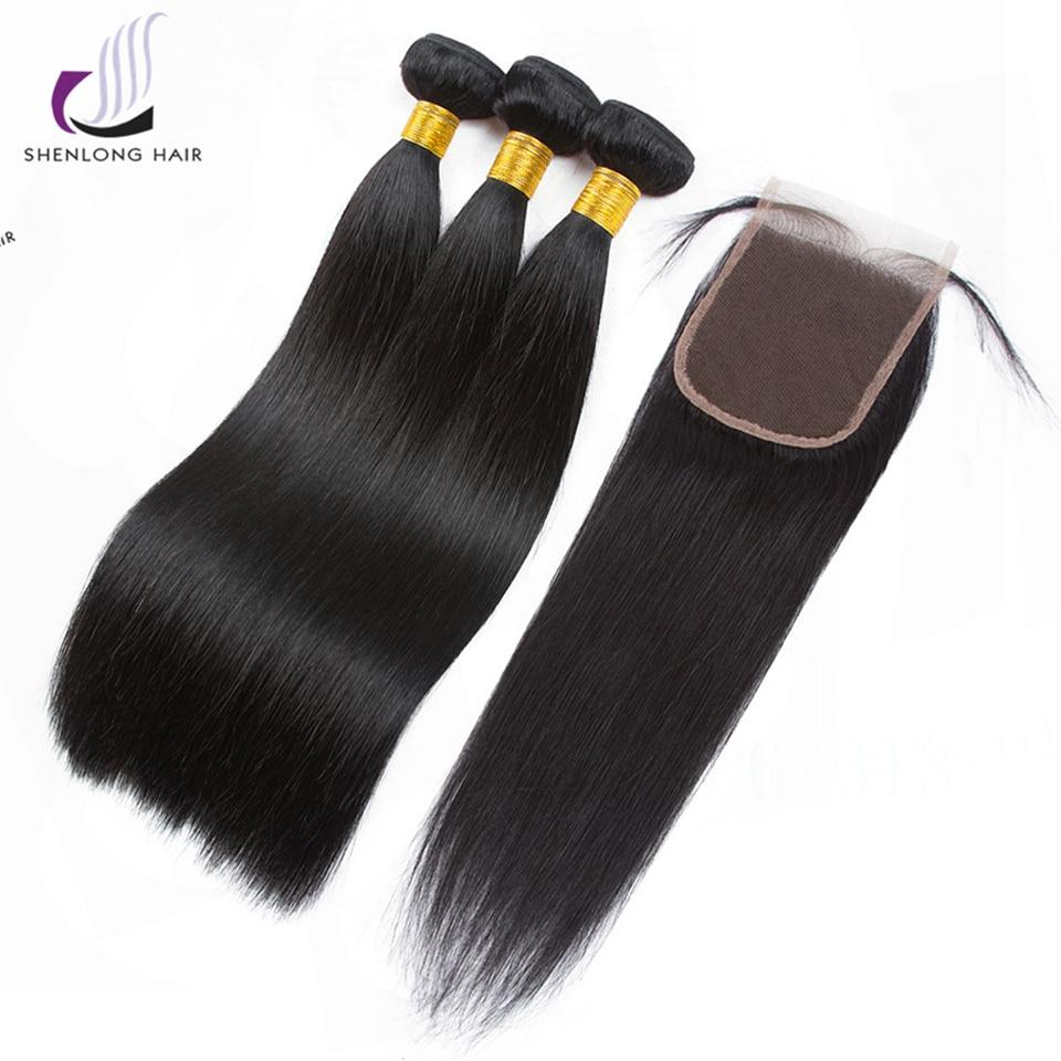 SHENLONG волос монгольский прямые волосы 3 Связки с закрытием 4 шт./лот не Волосы remy ткань человеческих волос пучки с закрытием ...