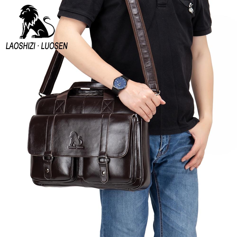 Image 4 - Business Messenger Bag Genuine Leather Men Shoulder Bag Vintage Male Casual Totes Handbag Cowhide Crossbody Bag Men-in Crossbody Bags from Luggage & Bags
