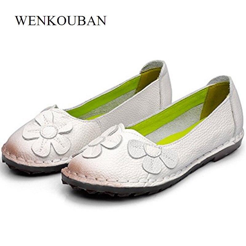Sans lacet femmes chaussures en cuir véritable mocassins chaussures plates femmes ballerine femme été ballerines semelle en caoutchouc Zapatos Mujer
