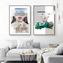 Modern Style Fashion Lady Red Lips Green Plants Abstract Decorative Wall Art Picture Canvas Painting Bedroom Living Room