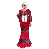 2 Pieces Skirt Sets with Headwrap Bazin Riche African Print Patchwork Top and Mermaid Skirts for Women African Clothing WY3109
