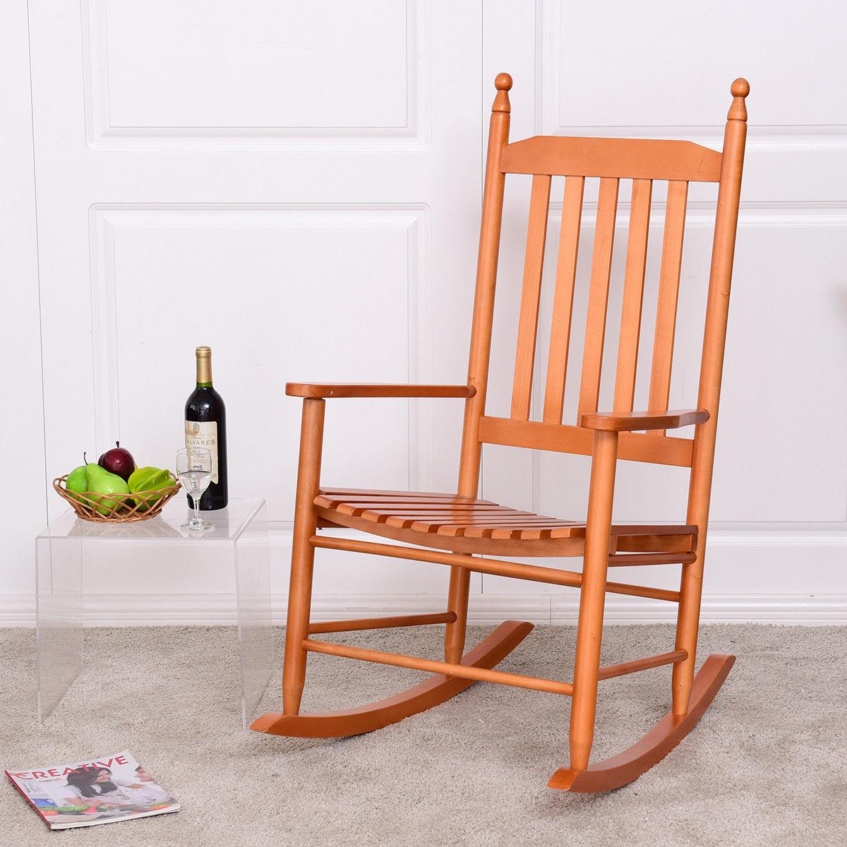 Giantex Wooden Rocking Chair Porch Rocker Armchair Balcony Deck Garden Furniture Modern Walnut Garden Chair HW56354WA
