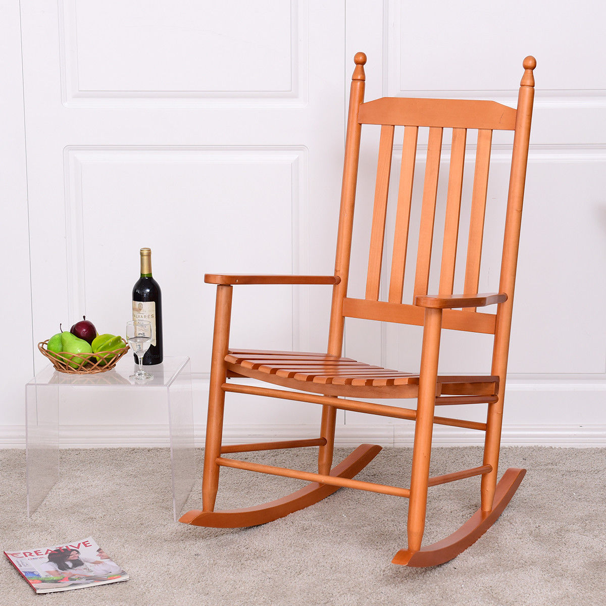 Us 7999 Giantex Drewniane Fotel Bujany Ganek Rocker Fotel Balkon Taras Meble Ogrodowe Nowoczesny Orzech Krzesło Ogrodowe Hw56354wa Na