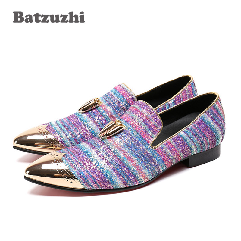 Batzuzhi Luxury Handmade Loafers Men Pointed Toe Leather Shoes with Gold Metal Tassels Gold Metal Toe Men Dress Shoes for Party