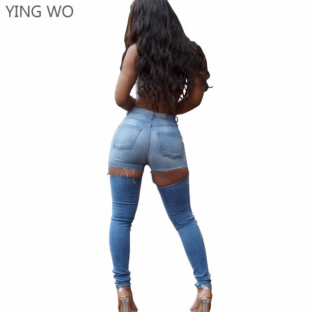 fcdcaa2957631 New Sexy Cut-out Back Bottoms Washed Denim Pencil Pants Plus Size Woman  Vintage Style Bleached Butt Lifting Skinny Jeans S-3XL
