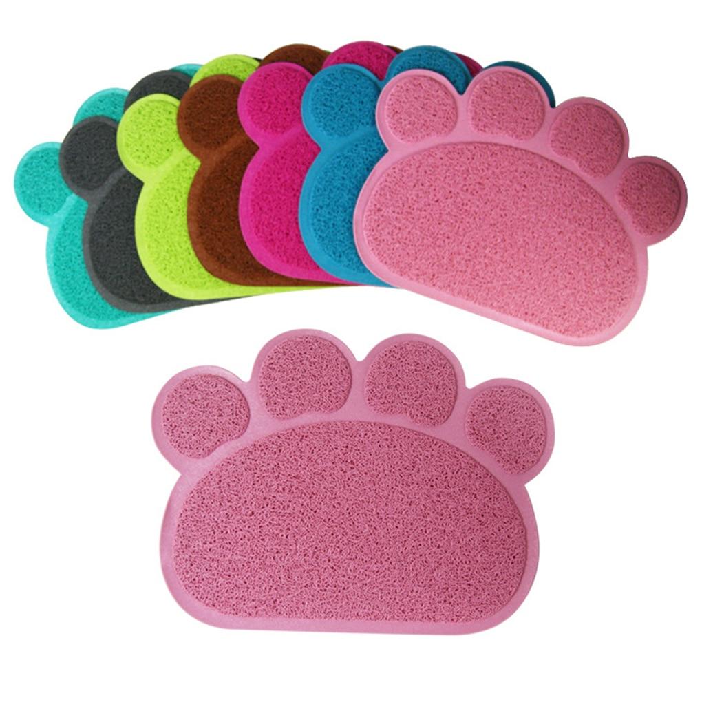 Esteras del coche huella forma cuadrada gato esteras de esteras para mascotas perro gato impresión de la pata de perro gato Mat cachorro Kitty plato de alimentación