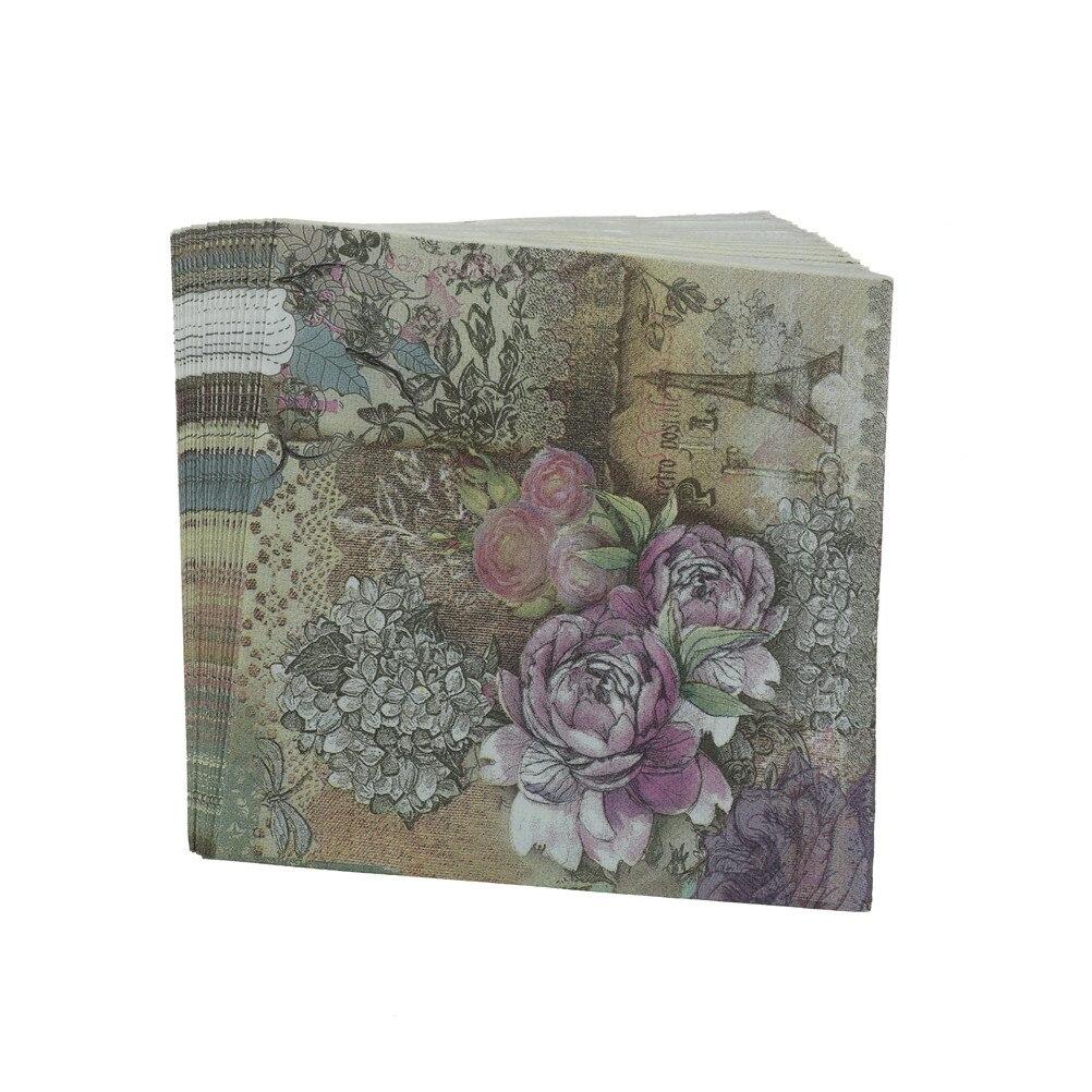 33x33cm 20pcs/lot Eiffel Design Tower Paper Napkins Rose Festive Party Tissue Floral Decoration