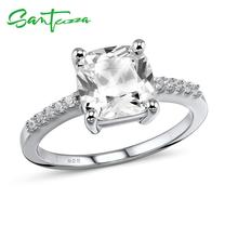 Santuzza 925 Sterling Silver Ring For Woman Sparkling luxury White Cubic Zirconia Engagement Romantic Female Rings Fine Jewelry cheap 925 Sterling Women GDTC Prong Setting ROUND TRENDY Bridal Sets Wedding 100 925 Sterling Silver White Rhodium Plated Cubic Zirconia CZ