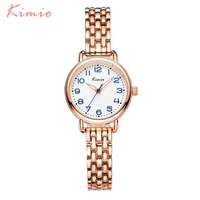 KIMIO Fashion Simple Wrist Watch Women Bracelet Watch Strap Skeleton Pointer 3D Arabic Numerals Scale Womens
