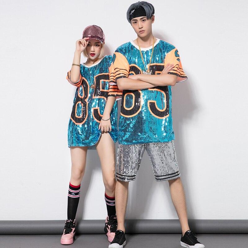 new products c83eb a9e2e New Hip Hop Uomo Vestito Donna Top Street Dance Danza Jazz costumi Sciolti  di Grandi Dimensioni Paillettes T-Shirt Usura Della Fase Rave Abbigliamento  ...