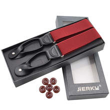 JIERKU Button Suspenders Man's Braces Black Leather Suspensorio Fashion Trousers Strap Father/Husband's Gift 3.5*120cm