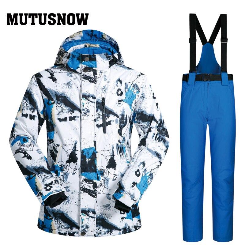 MUTUSNOW 2019 nouveau costume de Ski extérieur hommes coupe-vent imperméable thermique Snowboard Set neige mâle vestes de Ski marques et pantalons Skiwear