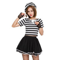 Sexy Women Halloween criminal Costumes Female prisoner Cosplay Prison clothes Role play Nightclub dance Disco Rave party dress