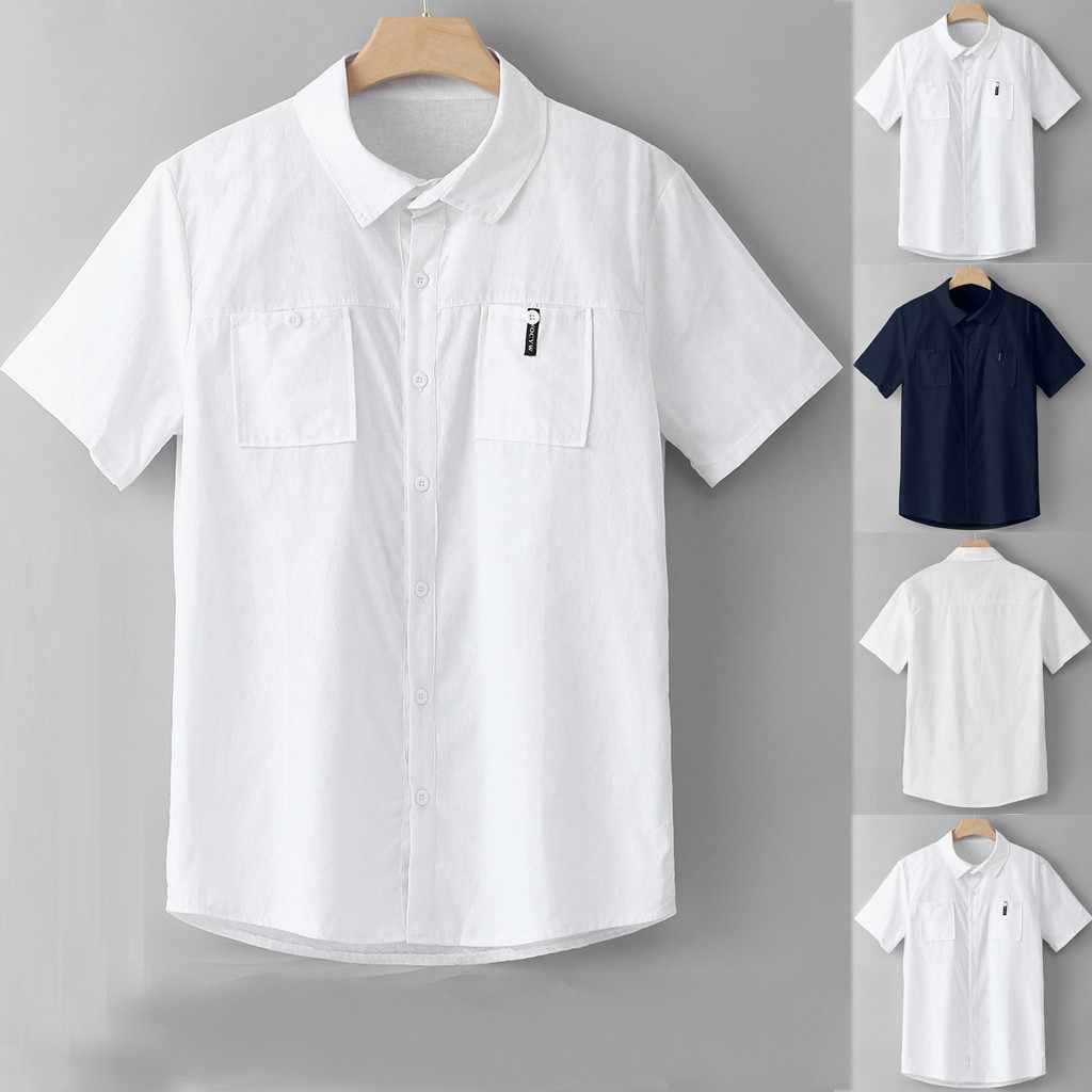 2019 新メンズシャツファッションメンズカジュアルコットンリネンスリム半袖ドレスシャツブラウストップスブラウストップ camiseta