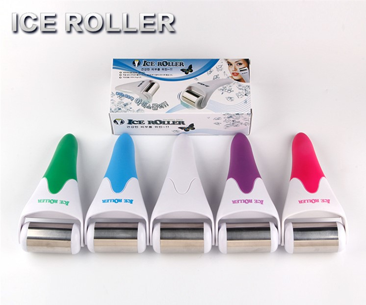 Skin Cool Therapy Ice Roller Puffy Eyes Reducer Soothe Acne Breakouts Derma Stainless Steel Face Massager for Youthful Skin