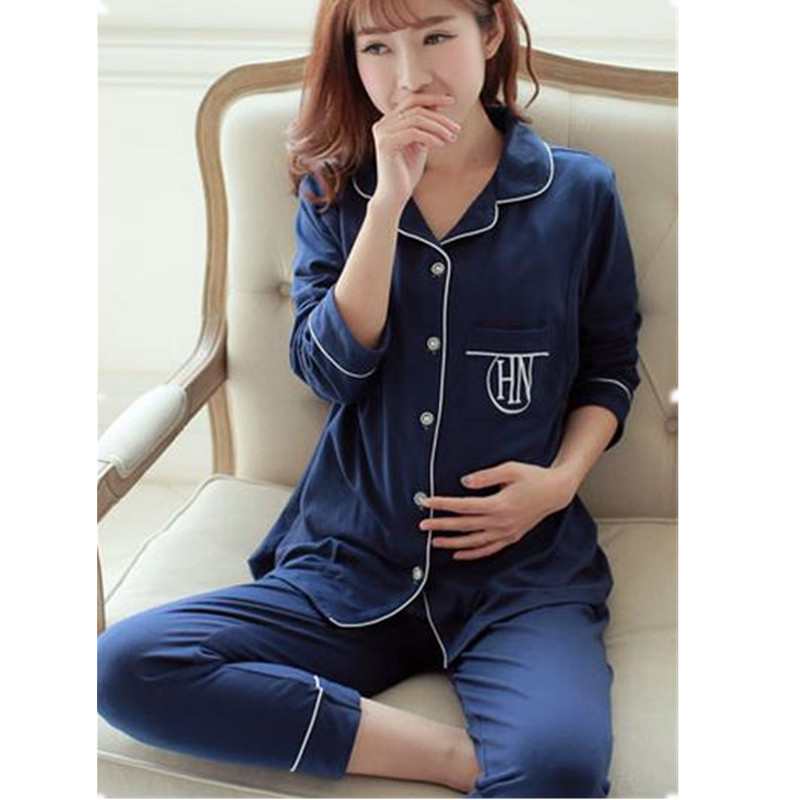 Amamentação Pijamas Para As Mulheres de Maternidade As Mulheres Grávidas de Algodão de Manga Longa Sleepwear Conjuntos de Roupas de Enfermagem Camisola D0048