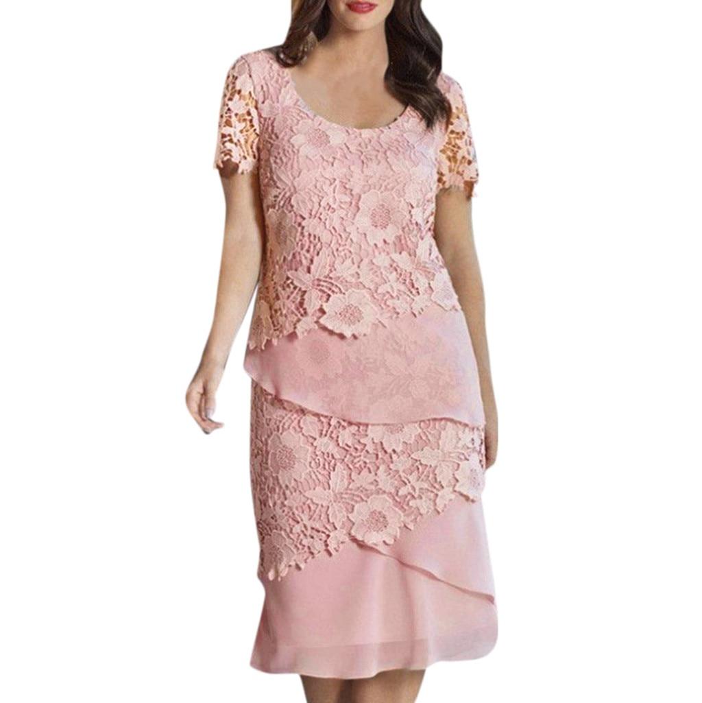 Large Size women's Lace Solid Floral Applique Slim Elegant Dress Summer short sleeved O neck Casual Loose Party Dress Plus Size