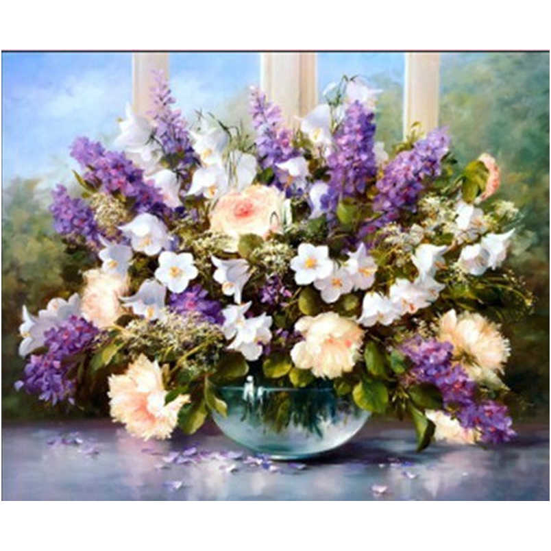Dmc Cross stitch Flower series 61X52CM purple vase Lavender Home decoration Precision printing Diy Needlework kits embroidery