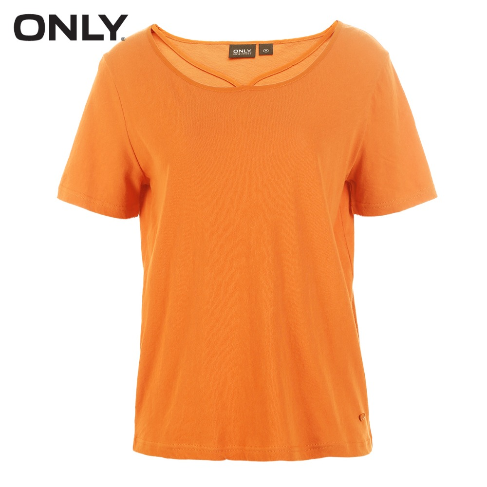 ONLY 100 cotton tie up loose pure color T shirt tops summer casual 118101571 in T Shirts from Women 39 s Clothing