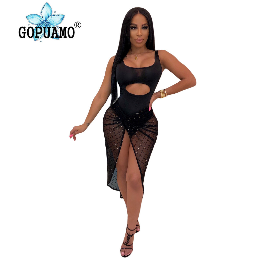 Sheer Mesh Patchwork Sexy 2 Piece Set Summer Clothes For Women Cut Out Backless Beach Bodysuit And Se Through Maxi Skirt Outfit