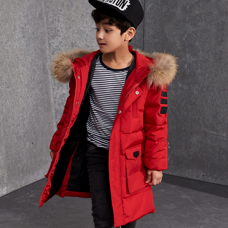 Boys Winter Jackets Fur Hooded Teenage Boys Winter Coats Children Duck Down Jackets Kids Outerwear for Age 8 9 10 12 14 15 Year a15 girls jackets winter 2017 long warm duck down jacket for girl children outerwear jacket coats big girl clothes 10 12 14 year