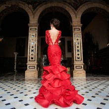 CYF93   Fishtail Tiered Layered Ruffles Satin Prom Dresses 2016 Long Sleeve Red Lace Evening Dress For Women Pageant Celebrity