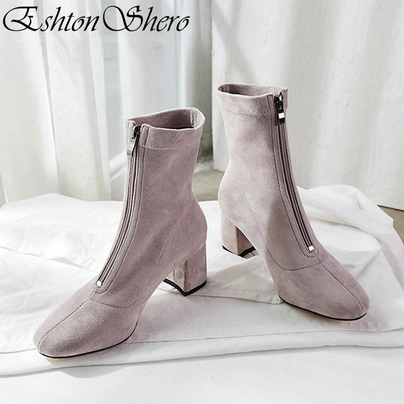 EshtonShero Printemps Femmes bottines chaussures pour femme Carré À Talons Hauts Zipper Bout Pointu Gris Dames Moto Chaussette Boot Taille 3-11