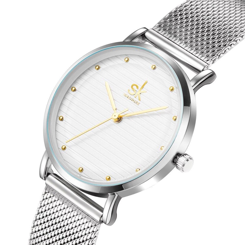 Shengke Brand Luxury Women Quartz Watches Stainless Steel Wristwatch Ladies Clock Relojes Mujer 2018 SK Women Bracelet Watches