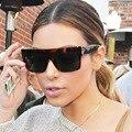 Kim Kardashian Señora Flat Top Gafas de Sol Luneta Femme Mujeres Marca de Lujo de gafas de Sol Las Mujeres 2016 Gafas de Sol Femeninas