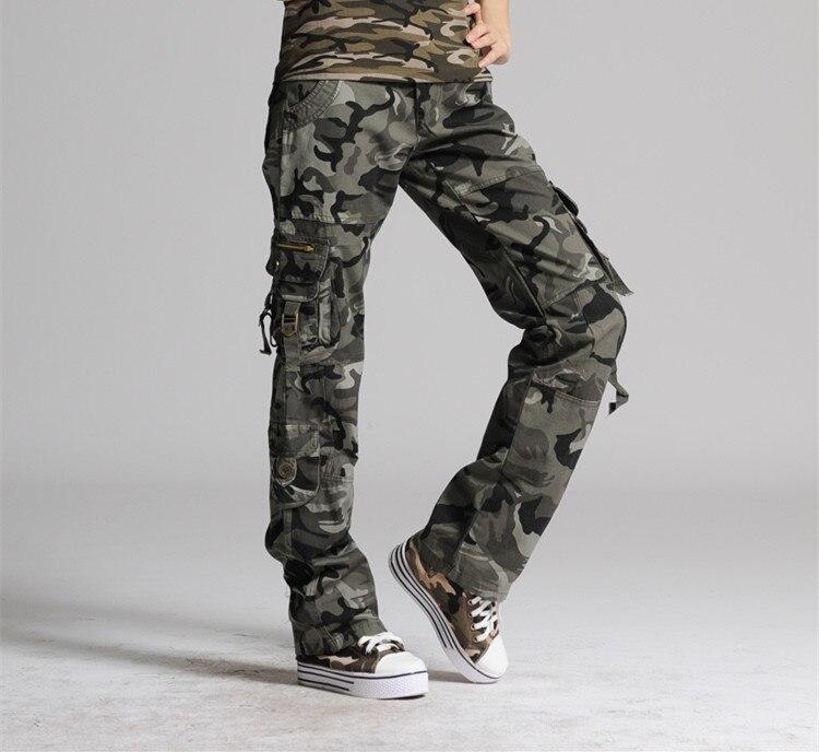 US $32.04 15% OFF|Frauen camouflage hosen frau baumwolle Multi Tasche Casual lose weibliche baggy Cargo Hosen Militär Plus Größe Hosen in Hosen &