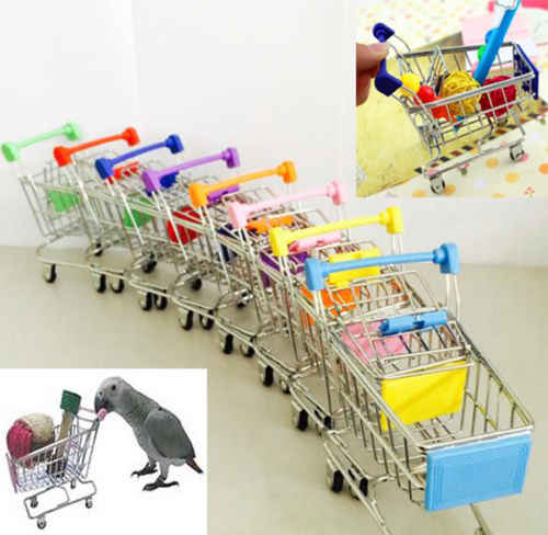 New Colorful Funny Mini Supermarket Shopping Cart Trolley Pet Bird Parrot Hamster Toy Wholesale