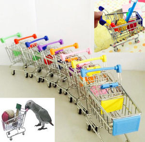 New Colorful Funny Mini Supermarket Shopping Cart Trolley Pet Bird Parrot Hamster Toy Wholesale(China)