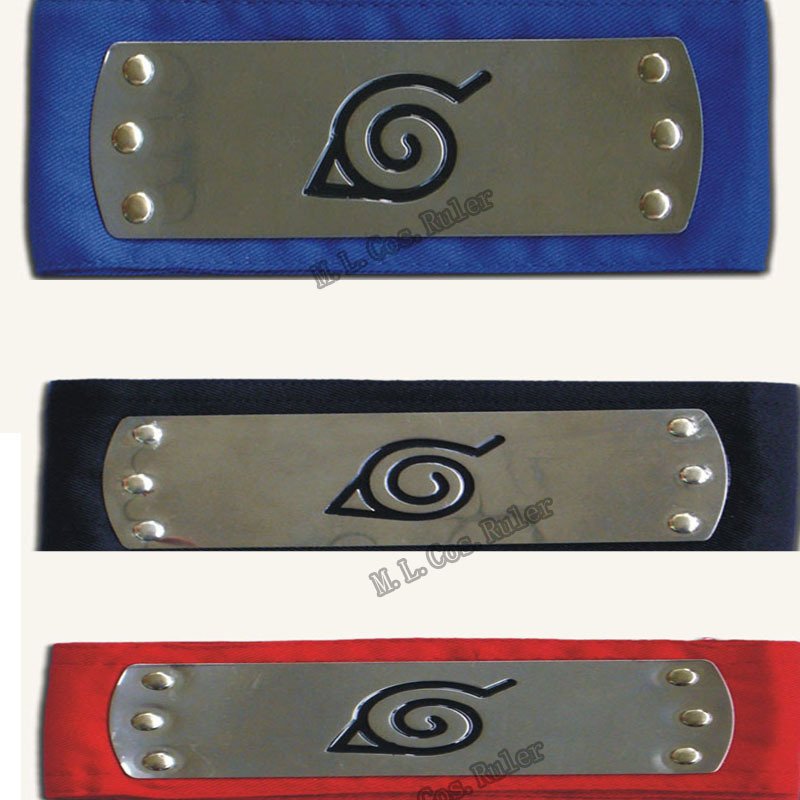 Naruto Headband Black Red blue Leaf Village Cosplay Costume Accessory  leaf village naruto headband
