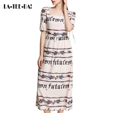 LA-TEE-DA!2017 New Print Dress Women Retro Letter Print Dresses Lady Fashion Sexy Slim Print Floral Dress Famale Slim HQ Vestido