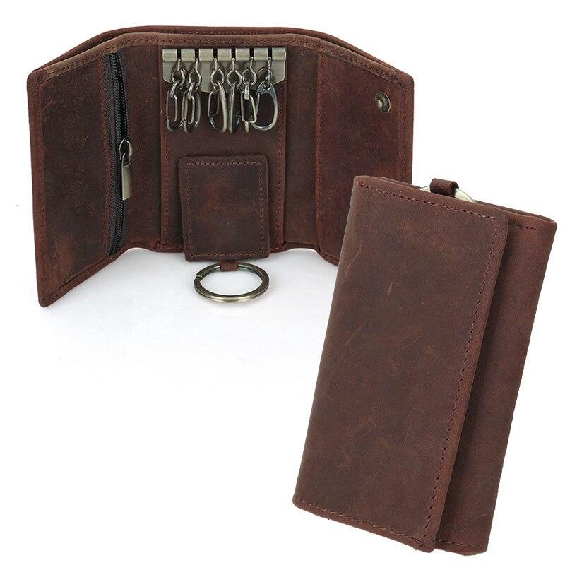 Vintage Multifunction Genuine Crazy Horse Leather Cowhide Men Car font b Key b font font b