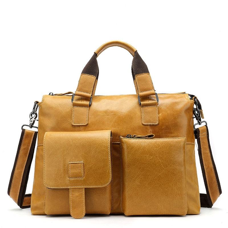 WEIXIER 2019 Classic Multi-Functional Design Genuine Leather Men's Handbag Large Capacity Simple Business Fashion Travel Handbag