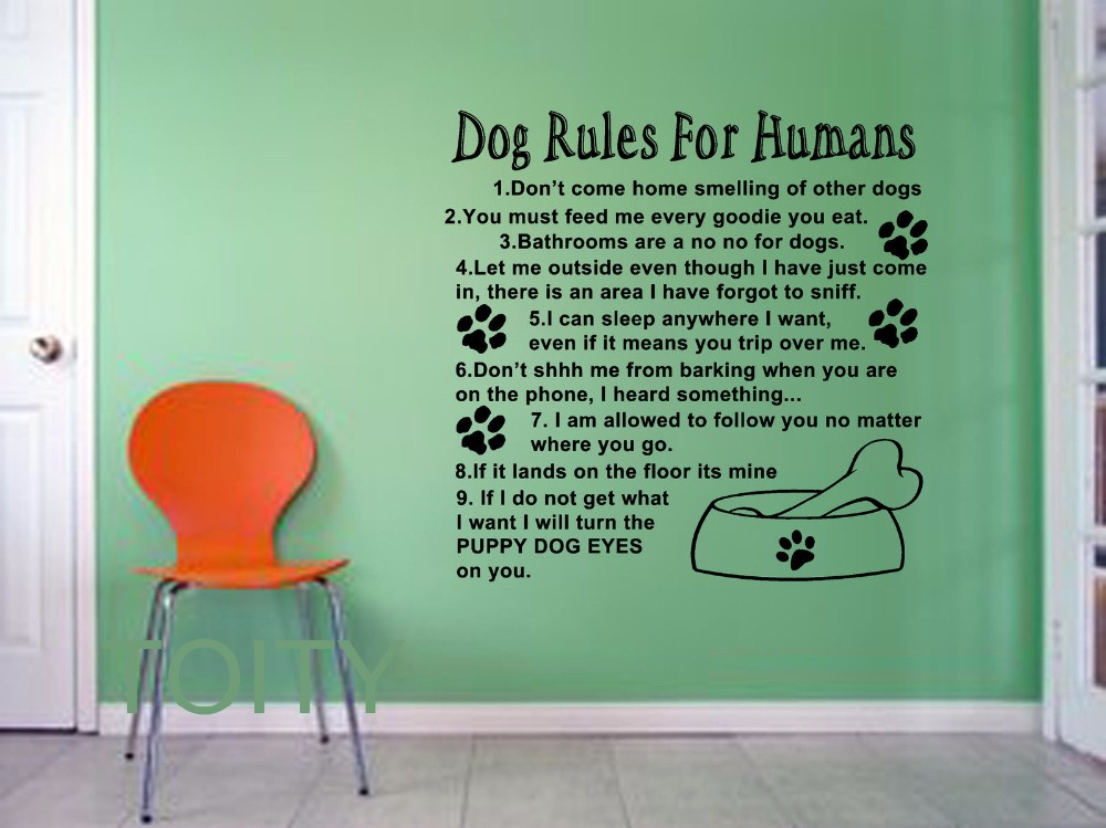 Dog Rules For Humans Giant Wall Sticker Art Quote Vinyl Decal Home Room Interior Mural Animal