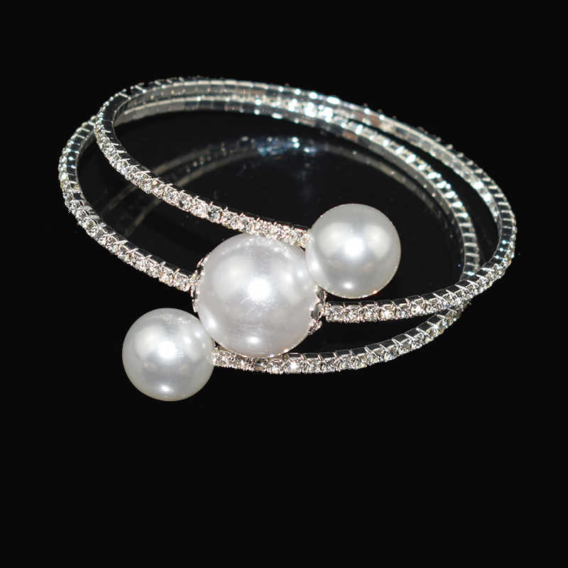 New Crystal Opening Gold /Silver Bangles Imitation Pearl Bride Bracelet Elastic Crystal Pearl Bangles Pulseras Mujer Jewelry