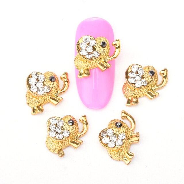 10pcs Elephant metal nail jewelry glitter rhinestones nail charms 3d ...