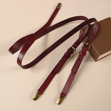 Coffee color cowhide suspender genuine leather 3 clips retro