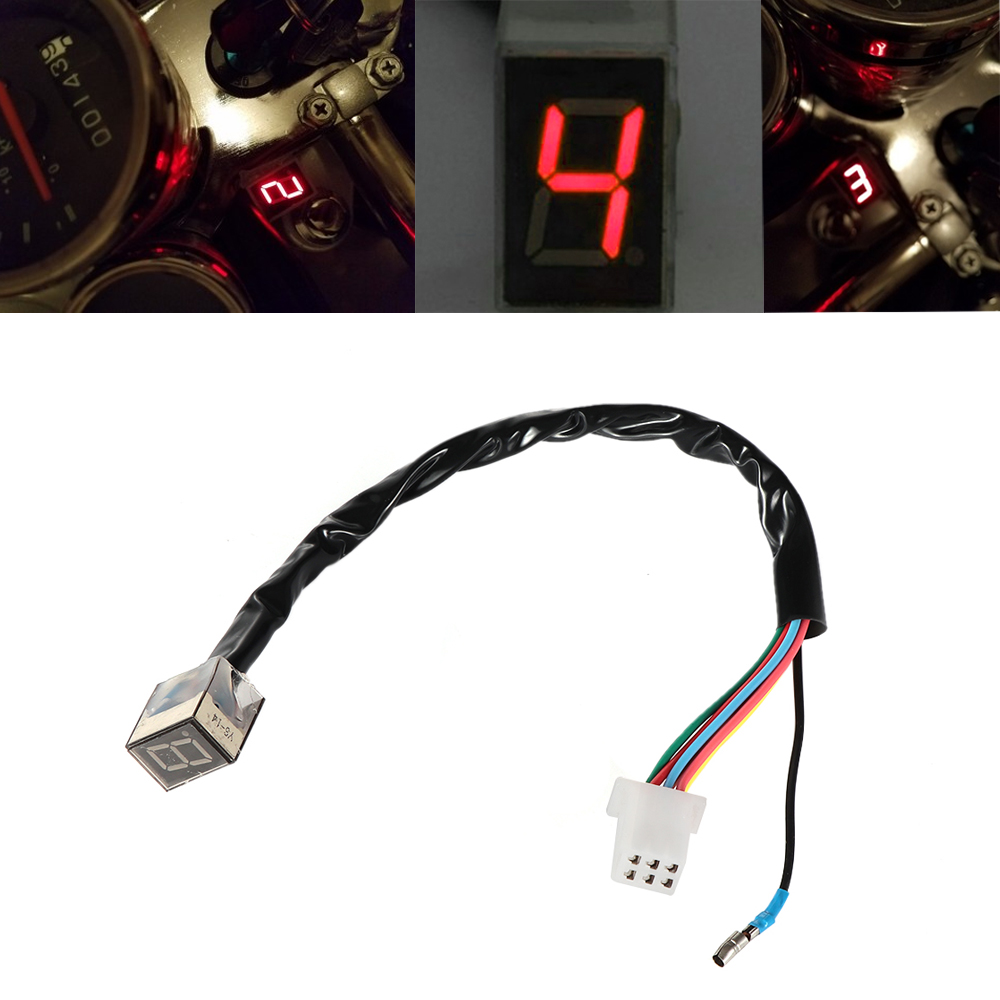 LED Digital Gear Indicator Motorcycle Universial Gear Indicator Light Red Motorbike Gear Display Shift Lever Sensor