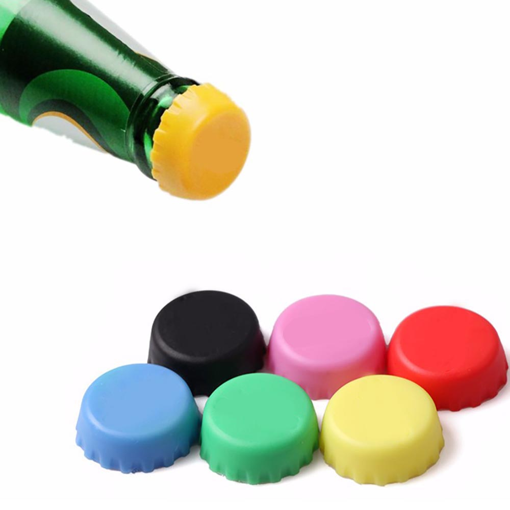 QianY 6 pcs/set 3.1 cm Colorful Wine Stoppers Beer Bottle Cap Silicone Leak Free Wine Bottle Sealers For Red Wine Bottle Cap