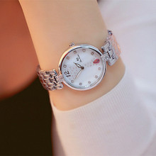New Hot-selling Rhinestone Dial with A Digital Silver Round Female Watch Fashion & Casual  Chronograph Bracelet Clasp