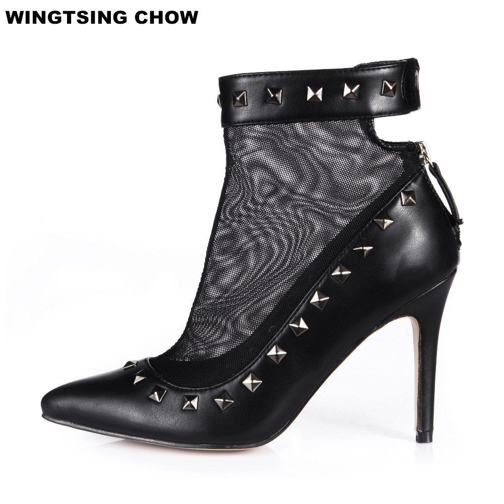 Big Size Rivet Pointed Toe Air Mesh High Heels Ankle Boots Shoes Ladies Fashion Shoes Woman Summer Boots Thin Heel Shoes lankarin brand 2017 summer woman pointed toe flats ladies platform fashion rivet buckle strap flat shoes woman plus size