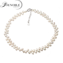 Real natural freshwater double pearl necklace for women,trendy anniversary gift white pearl necklace choker nymph freshwater pearl bracelets fine jewelry near round natural pearl bangles for women white trendy anniversary gift [s313]