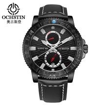 OCHSTIN Luxury Brand Watch Men Chronograph Military Hodinky Quartz Sport Watch Leather Clock Men's Wrist Watch Montre Homme 2019