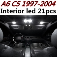 Tcart 21pcs free shipping Error Free Auto LED Bulbs Car Interior Lights Kit Dome Lamps For Audi A6 C5 RS6 accessories 1997-2004